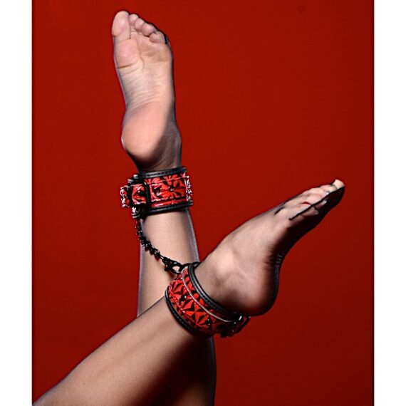 Crimson Tied Embossed Ankle Cuffs