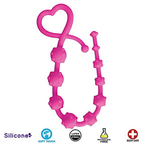 Hearts n Studs Silicone Anal Beads - Pink