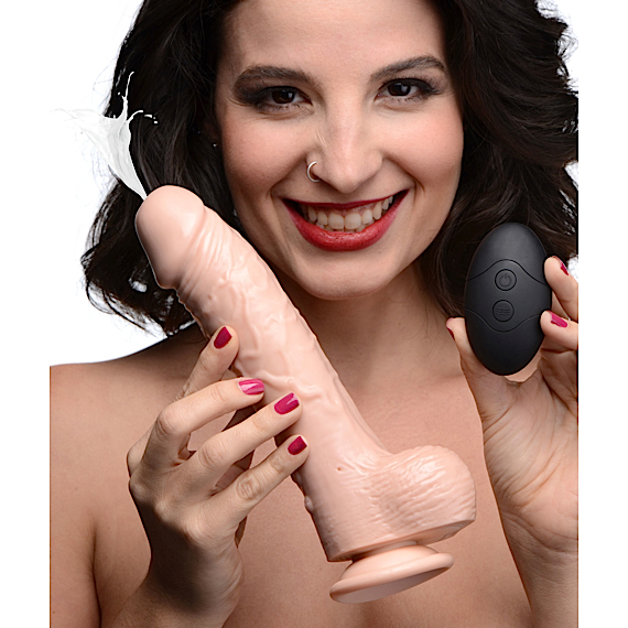 8 Inch Vibrating Squirting Dildo with Remote Control - Light