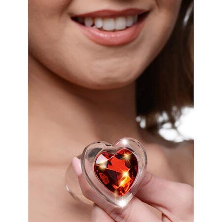 Red Heart Gem Glass Anal Plug - Large
