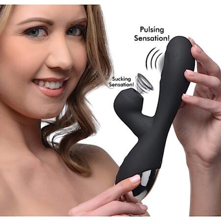 10X Silicone Suction Rabbit Vibrator - Black