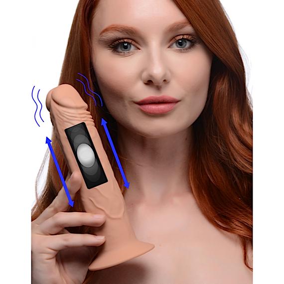 7X Remote Control Vibrating and Thumping Dildo - Medium