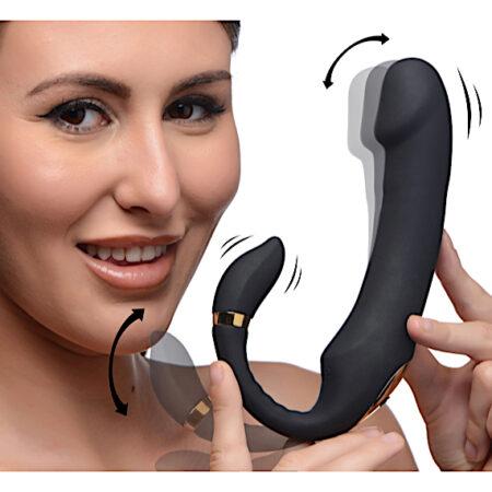 10X Pleasure Pose Come Hither Silicone Vibrator with Poseable Clit Stimulator
