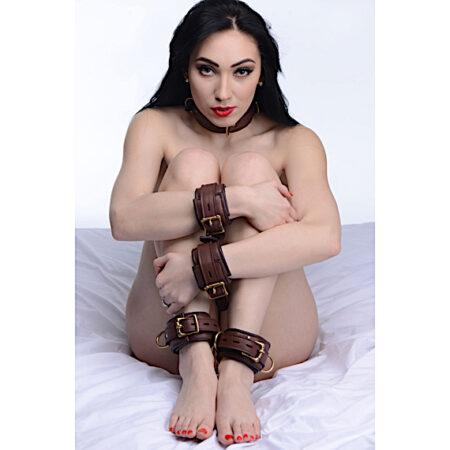Brown 5 Piece Locking Leather Bondage Set