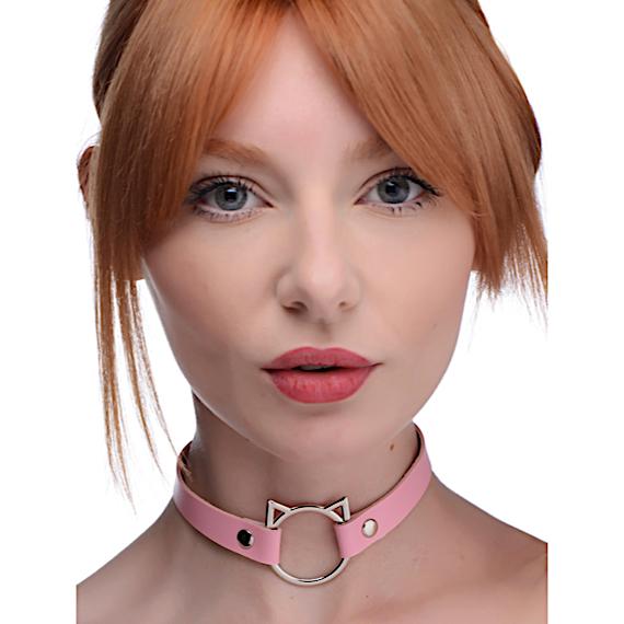 Kinky Kitty Ring Slim Choker - Pink