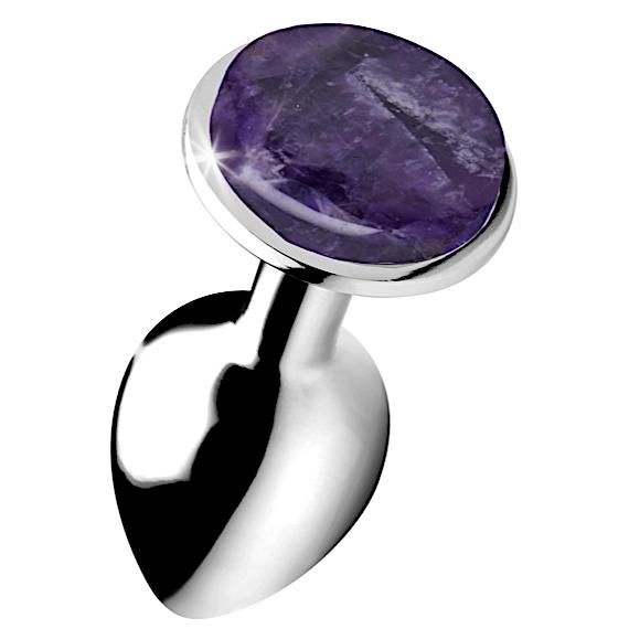 Genuine Amethyst Gemstone Anal Plug - Small