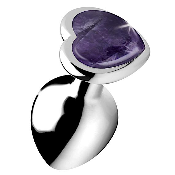 Genuine Amethyst Gemstone Heart Anal Plug - Medium