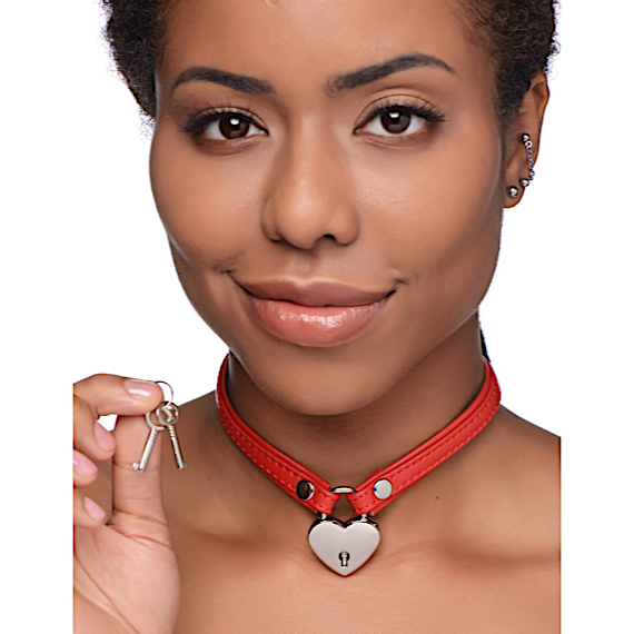 Heart Lock Leather Choker with Lock and Key - Red